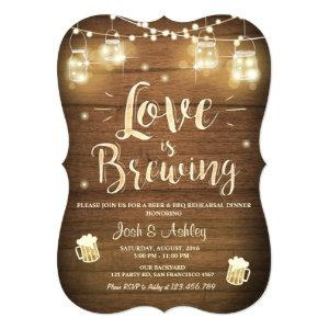 Love is brewing bbq rehearsal bridal shower Wood Invitation starting at 2.91
