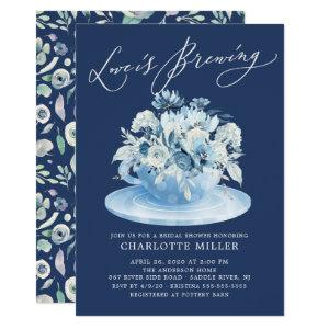 Love is Brewing Blue Floral Bridal Tea Shower Invitation starting at 2.40