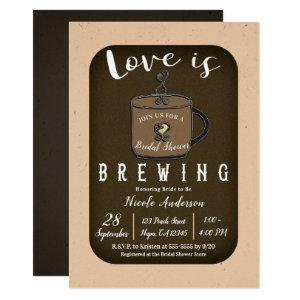 LOVE IS BREWING Coffee Cafe Shop Bridal Shower Invitation starting at 2.65