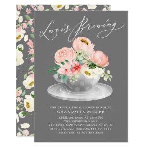 Love is Brewing Pink Floral Bridal Tea Shower Invitation starting at 2.40