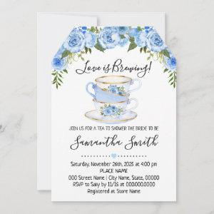 Love is brewing tea bridal shower blue starting at 2.61