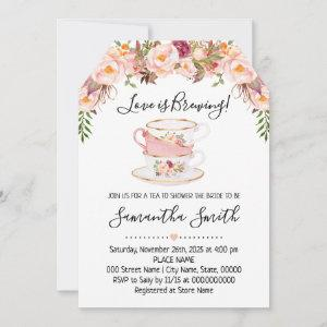 Love is brewing tea bridal shower pink invitation starting at 2.61