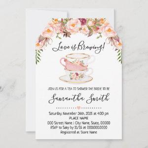 Love is brewing tea bridal shower pink starting at 2.61
