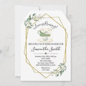 Love is brewing tea greenery shower invitation starting at 2.61