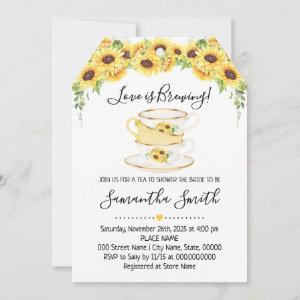 Love is brewing tea sunflowers shower invitation starting at 2.61