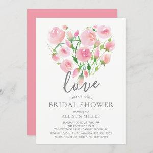 Love Watercolor Pink Floral Heart Bridal Shower Invitation starting at 2.40
