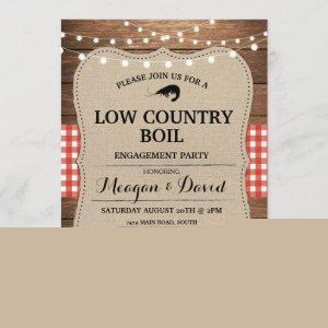 Low Country Boil Engagement Party Red Check Invitation starting at 2.51