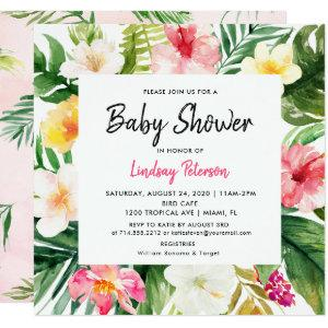 Luau Tropical Leaves Summer Square Baby Shower Invitation starting at 2.51