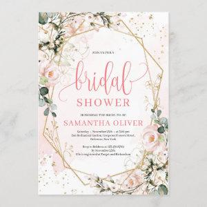 Lush blush pink floral gold frame bridal shower invitation starting at 2.40