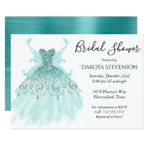 Luxe Fairy Wing Gown | Mint Green Bridal Shower Invitation starting at 2.51