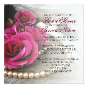 Luxury Elegant Pearls Rose Lace Shower Invite starting at 2.93