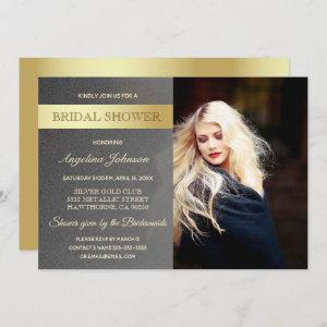Luxury Gold Foil and Silver Bridal Shower Photo Invitation starting at 2.40