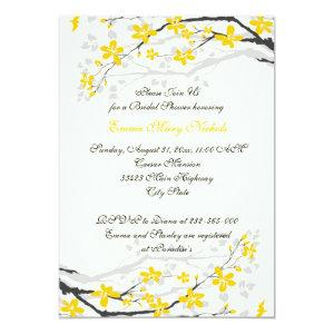 Magnolia yellow, grey flowers bridal shower invitation starting at 2.66
