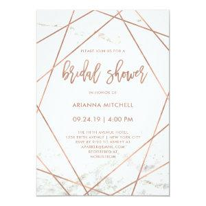Marble and Rose Gold Geometric Bridal Shower Invitation starting at 2.66