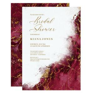 Marble Glitter Wedding Burgundy Gold ID644 Invitation starting at 2.21