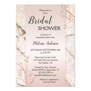 Marble Rose Gold Floral Bridal Shower Invitation starting at 2.55