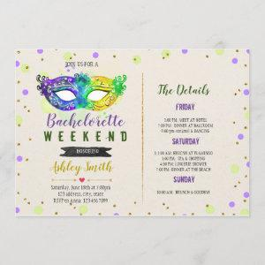 Mardi gras bachelorette Itinerary invitation starting at 2.50