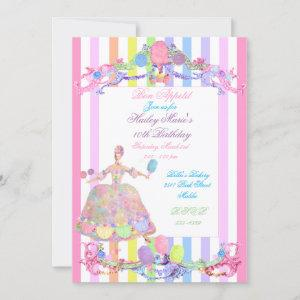Marie Antoinette candy stripes pastels french Invitation starting at 2.40