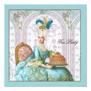Marie Antoinette in Aqua with Cake Invitation starting at 3.30