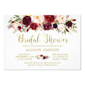 Marsala Floral Autumn Gold Bridal Shower Card starting at 2.25
