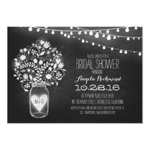 mason jar chalkboard & lights bridal shower invitation starting at 2.56