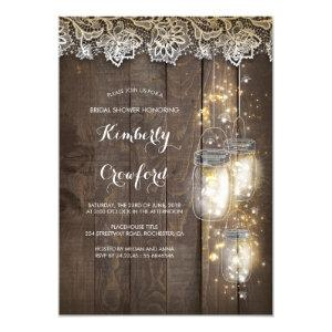 Mason Jar Lights and Lace Rustic Bridal Shower Invitation starting at 2.30
