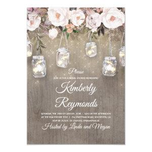 Mason Jar Lights Floral Rustic Bridal Shower Invitation starting at 2.15