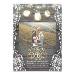 Mason Jar Lights Rustic Photo I DO BBQ Photo Invitation starting at 2.25