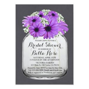 Mason Jar Purple Daisy Bridal Shower daisy3 Invitation starting at 2.31
