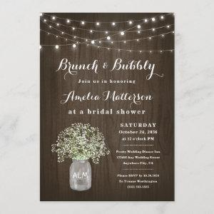 Mason Jar Rustic Brunch and Bubbly Bridal Shower Invitation starting at 2.25
