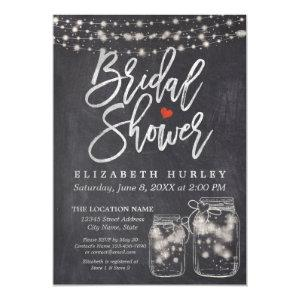 Mason Jar & String Lights Chalkboard Bridal Shower Invitation starting at 2.40