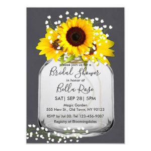 Mason jar sunflower Fall bridal shower invitations starting at 2.20