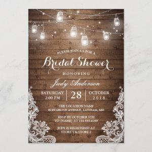 Mason Jars Lights Rustic Wood Lace Bridal Shower Invitation starting at 2.35