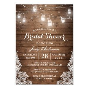 Mason Jars Lights Rustic Wood Lace Bridal Shower Invitation starting at 2.40