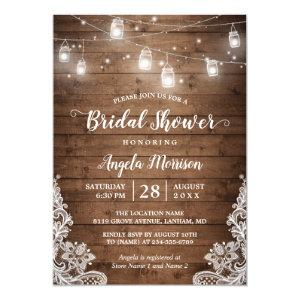 Mason Jars String Lights Rustic Lace Bridal Shower Invitation starting at 2.35