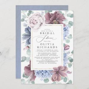 Mauve and Dusty Blue Flowers Elegant Bridal Shower Invitation starting at 2.51