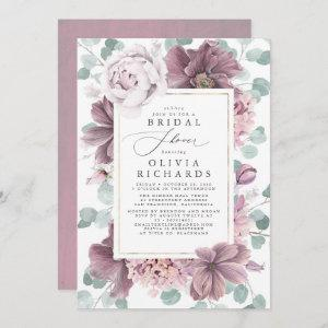 Mauve Flowers and Greenery Elegant Bridal Shower Invitation starting at 2.51