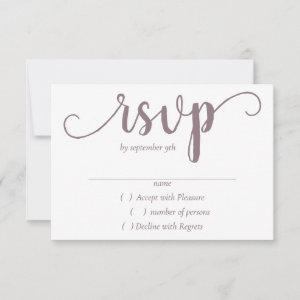 Mauve Script   Dusty Pink Rose Calligraphy Party RSVP Card starting at 2.01