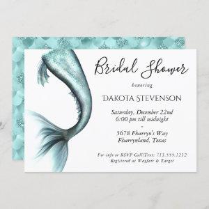 Mermaid Luxe Bridal Shower | Turquoise Blue Luxury Invitation starting at 2.40