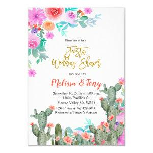 Mexican Fiesta Floral Wedding shower Cactus Invitation starting at 2.10