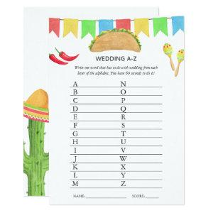 Mexican Fiesta Taco Bridal Shower Game Invitation starting at 2.66