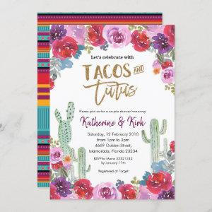 Mexican Floral Tacos and Tutus Couple Shower Invitation starting at 2.55