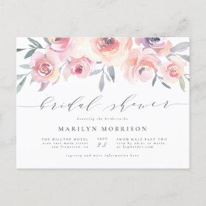 Midsummer Floral Elegant Watercolor Bridal Shower Invitation Postcard starting at 1.70