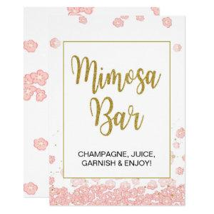 Mimosa Bar Sign | Pink and Gold Bridal Shower Invitation starting at 2.50