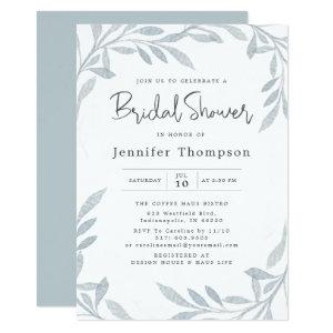 Minimal Dusty Blue Watercolor Bridal Shower Invitation starting at 2.56