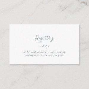 Minimal Leaf | Dusty Blue Gift Registry Enclosure Card starting at 0.59