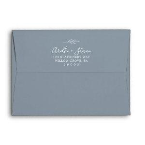 Minimal Leaf | Dusty Blue Wedding Invitation Envelope starting at 0.85