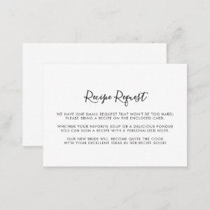 Minimalist Black and White Wedding Recipe Request Enclosure Card starting at 0.35