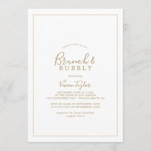 Minimalist Gold Brunch and Bubbly Bridal Shower Invitation starting at 2.51