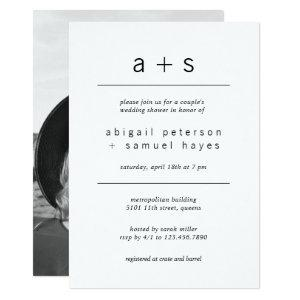 Minimalist Monogram Photo Couples Wedding Shower Invitation starting at 2.26